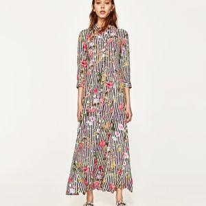 Zara Black Floral Striped Long Dress
